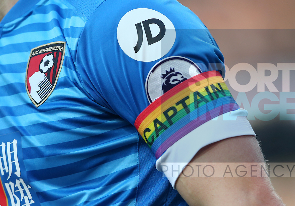 Bournemouth's Simon Francis wears a rainbow armband during the Premier League match at the Emirates Stadium, London. Picture date October 26th, 2016 Pic David Klein/Sportimage