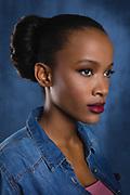 Modeling headshot of beautiful female African-american model.