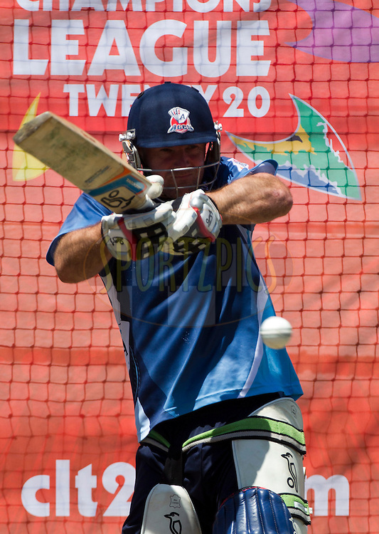 Gareth Hopkins plays a shot in the nets during the Auckland Aces practice session held a Kingsmead Stadium in Durban on the 18th October 2012..Photo by Rogan Ward/SPORTZPICS/CLT20