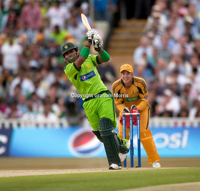 Umar Akmal bats during the first International T20 match between Australia and Pakistan at Edgbaston, Birmingham.  Photo: Graham Morris (Tel: +44(0)20 8969 4192 Email: sales@cricketpix.com) 05/07/10