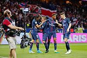 Edinson Roberto Paulo Cavani Gomez (psg) (El Matador) (El Botija) (Florestan) scored a new goal and celebrated it with Marco Verratti (psg), Presnel Kimpembe (PSG) and Thomas Meunier (PSG), during the French Championship Ligue 1 football match between Paris Saint-Germain and EA Guingamp on April 9, 2017 at Parc des Princes stadium in Paris, France - Photo Stephane Allaman / ProSportsImages / DPPI