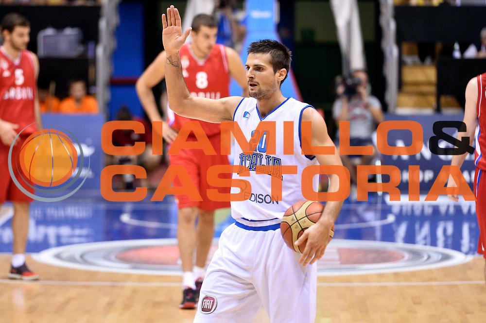 DESCRIZIONE : Trieste Nazionale Italia Uomini Torneo internazionale Italia Serbia Italy Serbia<br /> GIOCATORE : Andrea Cinciarini<br /> CATEGORIA : Esultanza<br /> SQUADRA : Italia Italy<br /> EVENTO : Torneo Internazionale Trieste<br /> GARA : Italia Serbia Italy Serbia<br /> DATA : 05/08/2014<br /> SPORT : Pallacanestro<br /> AUTORE : Agenzia Ciamillo-Castoria/GiulioCiamillo<br /> Galleria : FIP Nazionali 2014<br /> Fotonotizia : Trieste Nazionale Italia Uomini Torneo internazionale Italia Serbia Italy Serbia