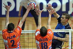 Alen Pajenk, Rok Satler of ACH Volley and Andrej Kovacic of Salonit at 4th and final match of Slovenian Voleyball  Championship  between OK Salonit Anhovo (Kanal) and ACH Volley (from Bled), on April 23, 2008, in Kanal, Slovenia. The match was won by ACH Volley (3:1) and it became Slovenian Championship Winner. (Photo by Vid Ponikvar / Sportal Images)/ Sportida)