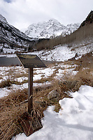 Maroon Bells and Trailhead Sign, Maroon / Snowmass Wilderness, Colorado