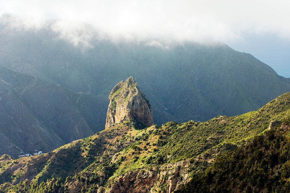 La Gomera, Canary Islands. From north of Meriga northwest to Roque Cano eroded volcanic plug above Vallehermoso valley