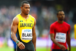London, 2017 August 07. Yohan Blake, Jamaica, awaits the start of the men's 200m heats on day four of the IAAF London 2017 world Championships at the London Stadium. © Paul Davey.