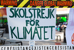 London, UK. 20 September, 2019. A 'Skolstrejk för Klimatet' (school strike for climate) poster outside the University of the Arts London at Elephant and Castle on the day of the second Global Climate Strike in protest against a lack of urgent action by the UK Government to combat the global climate crisis.
