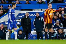 Chelsea Manager Jose Mourinho looks on - Photo mandatory by-line: Rogan Thomson/JMP - 07966 386802 - 24/01/2015 - SPORT - FOOTBALL - London, England - Stamford Bridge - Chelsea v Bradford City - FA Cup Fourth Round Proper.