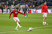 Jesse Lingard Midfielder of Manchester United in warm up during the UEFA Europa League Quarter-final, Game 1 match between Anderlecht and Manchester United at Constant Vanden Stock Stadium, Anderlecht, Belgium on 13 April 2017. Photo by Phil Duncan.