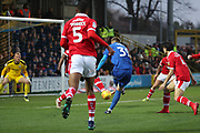 AFC Wimbledon striker Joe Pigott (39) with a shot on goal during the EFL Sky Bet League 1 match between AFC Wimbledon and Barnsley at the Cherry Red Records Stadium, Kingston, England on 19 January 2019.