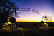 Hitch Ranch entrance at sunrise in the Oklahoma panhandle.