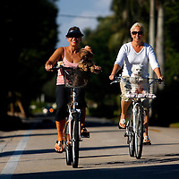 NAPLES, FL - January 23, 2010 -- Debra O'Brien, a seasonal resident from Toronto, Canada, left, and Clorinda Haug, a seasonal resident from Annapolis, Maryland, Ride with their pooches in baskets as they take a ride down the affluent Gordon Drive in Naples, Fla., on Saturday, January 23, 2010.