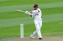 Somerset's Marcus Trescothick pulls the ball. - Photo mandatory by-line: Harry Trump/JMP - Mobile: 07966 386802 - 21/08/15 - SPORT - CRICKET - LV County Championship Division One - Day One - Somerset v Worcestershire - The County Ground, Taunton, England.