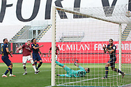 AC Milan's Croatian striker Ante Rebic fires the ball home to give the side a 1-0 lead during the Serie A match at Giuseppe Meazza, Milan. Picture date: 28th June 2020. Picture credit should read: Jonathan Moscrop/Sportimage