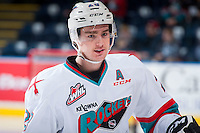 KELOWNA, CANADA - DECEMBER 28: Joe Gatenby #28 of Kelowna Rockets stands on the ice against the Kamloops Blazers on December 28, 2015 at Prospera Place in Kelowna, British Columbia, Canada.  (Photo by Marissa Baecker/Shoot the Breeze)  *** Local Caption *** Joe Gatenby;