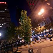 Bus at 10th and Main Transit Center, downtown Kansas City, Missouri.
