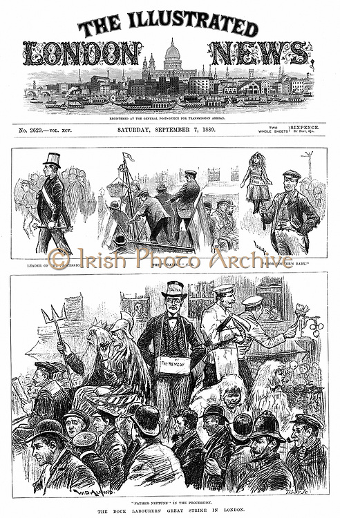 London Dock Labourers' Strike 1889: Scenes along the strikers' procession. Among aims of strike was establishment of minimum wage of 6d (2.5p) per hour, but it failed .From 'The Illustrated London News', 7 September 1889.