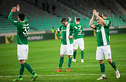 Miroslav Radovic #10 of NK Olimpija Ljubljana and other players of Olimpija look dejected after the football match between NK Olimpija Ljubljana and NK Celje in Round #25 of Prva liga Telekom Slovenije 2015/16, on March 13, 2016 in SRC Stozice, Ljubljana, Slovenia. Photo by Vid Ponikvar / Sportida