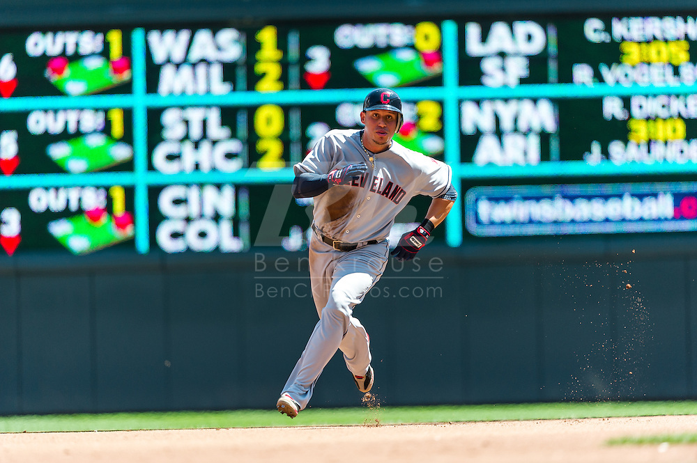 Cleveland Indians shortstop Asdrubal Cabrera runs toward 3rd base during a game against the Minnesota Twins at Target Field in Minneapolis, Minnesota on July 29, 2012.  The Twins defeated the Indians 5 to 1.  © 2012 Ben Krause