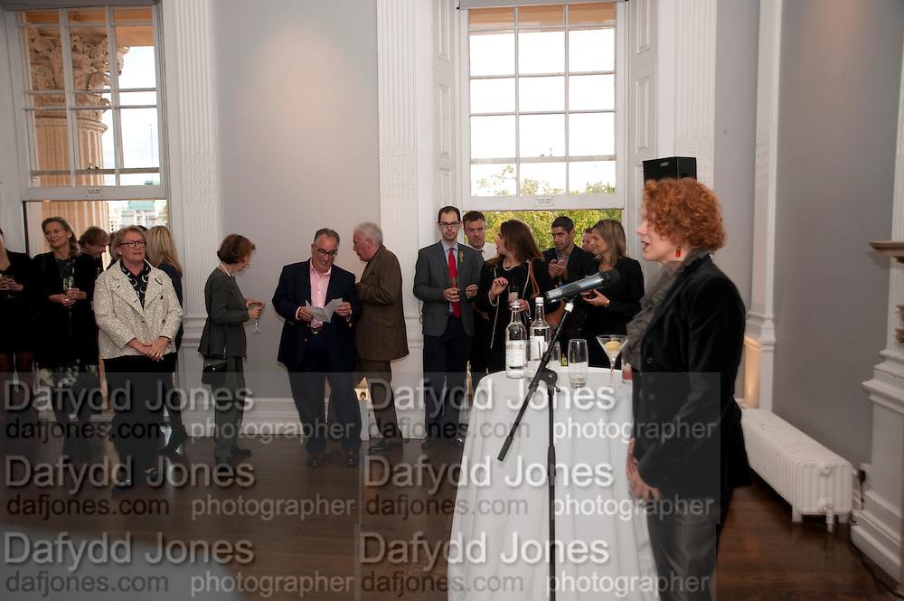ANN MACGREGOR, MCA Sydney cocktails. Brandon rooms. ICA. London. 11 October 2011. <br /> <br />  , -DO NOT ARCHIVE-&copy; Copyright Photograph by Dafydd Jones. 248 Clapham Rd. London SW9 0PZ. Tel 0207 820 0771. www.dafjones.com.