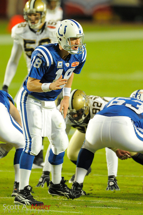 Miami, FL, USA; Quarterback Peyton Manning #18 of the Indianapolis Colts in action against the New Orleans Saints win over the Colts 31-17 in Super Bowl XLIV at Sun Life Stadium on Feb 7, 2010...©2010 Scott A. Miller