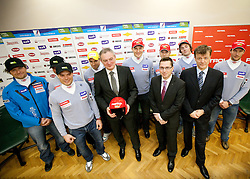 Gregor Sparovec, Miha Verdnik, Mitja Valencic, Aleksander svetelsek, general manager of Petrol, Andrej Sporn, Roman Dobnikar of Petrol, Andrej Krizaj, Rok Perko, Matija Vojsk of SZS and Andrej Jerman at press conference of Men Alpine Ski team and sponsor Petrol, on December 8, 2010 in Petrol, Ljubljana, Slovenia. (Photo By Vid Ponikvar / Sportida.com)