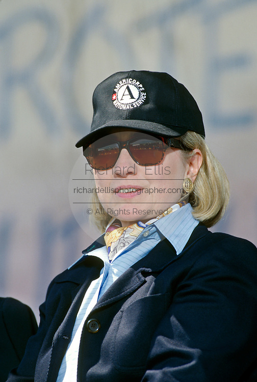 US First Lady Hillary Clinton at the Volunteerism Summit April 27, 1997 in Philadelphia, PA.