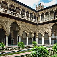 'Courtyard of the Maidens' or Patio de las Doncellas in the Royal Alc·zar (Palace) of Seville - 'Real Alc·zar de Sevilla'
