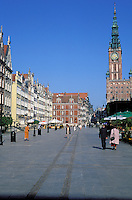 Buildings in Dlugi Targ (Long Market square) and Town Hall in background. Gdansk. Pomerania. Poland