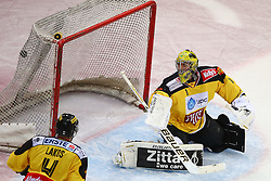 27.02.2015, Albert Schultz Eishalle, Wien, AUT, EBEL, UPC Vienna Capitals vs EC Red Bull Salzburg, 52. Runde, im Bild Philippe Lakos (UPC Vienna Capitals) und Matthew Zaba (UPC Vienna Capitals) // during the Erste Bank Icehockey League 52nd round match between UPC Vienna Capitals and EC Red Bull Salzburg at the Albert Schultz Ice Arena, Vienna, Austria on 2015/02/27. EXPA Pictures © 2015, PhotoCredit: EXPA/ Thomas Haumer
