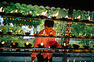 A man lights candles at the Temple of the Tooth on Poya Day, Kandy, Sri Lanka, Asia