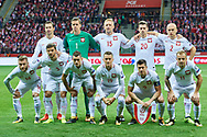 Warsaw, Poland - 2017 October 08: Upper row (L-R) Grzegorz Krychowiak and goalkeeper Wojciech Szczesny and Kamil Glik and Lukasz Piszczek and Michal Pazdan down row (L-R) Jakub Blaszczykowski and Bartosz Bereszynski and Krzysztof Maczynski and Piotr Zielinski and Robert Lewandowski and Kamil Grosicki all of Poland pose to the team photo before soccer match Poland v Montenegro - FIFA 2018 World Cup Qualifier at PGE National Stadium on October 08, 2017 in Warsaw, Poland.<br /> <br /> Mandatory credit:<br /> Photo by © Adam Nurkiewicz / Mediasport<br /> <br /> Adam Nurkiewicz declares that he has no rights to the image of people at the photographs of his authorship.<br /> <br /> Picture also available in RAW (NEF) or TIFF format on special request.<br /> <br /> Any editorial, commercial or promotional use requires written permission from the author of image.