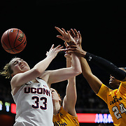 Katie Lou Samuelson, UConn, (left) and L'Tiana Taylor, East Carolina, challenge for a rebound during the UConn Huskies Vs East Carolina Pirates Quarter Final match at the  2016 American Athletic Conference Championships. Mohegan Sun Arena, Uncasville, Connecticut, USA. 5th March 2016. Photo Tim Clayton