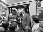 15/05/1982<br /> 05/15/1982<br /> 15 May 1982<br /> An Taoiseach, Mr Charles Haughey, canvasing with Fianna Fail bye-election candidate Eileen Lemass in Dublin West. Image shows An Taoiseach (right), Eileen Lemass and comedian Brendan Grace (Bottler) dressing the crowd from the steps of a bus on Decies Road, Ballyfermot during the campaign tour.