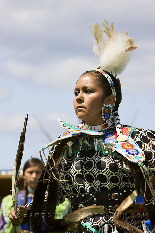 Native American woman in ceremonial clothing at Montana Pow Wow