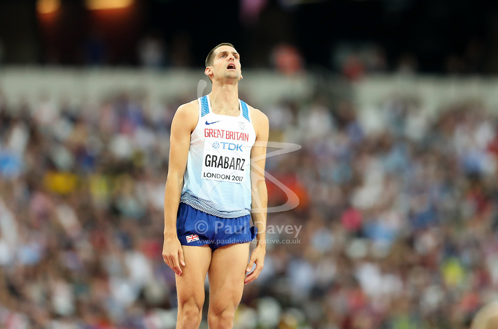 London, August 13 2017 . Robert Grabarz, Great Britain, bows out of the men's high jump final on day ten of the IAAF London 2017 world Championships at the London Stadium. © Paul Davey.