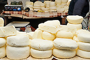 Georgia, Homemade cheese on sale at the food market in Gori