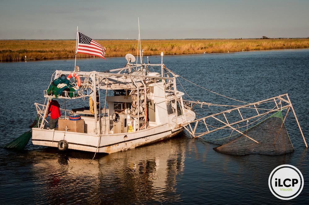 USA:  Louisiana, the Atchafalaya Basin, Terrabone Parish, shrimp boats from bridge on Rt 57 north of Cocodrie
