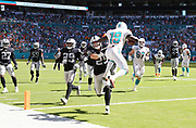 Sep 23, 2018; Miami Gardens, FL, USA; Miami Dolphins wide receiver Jakeem Grant (19) leaps into the end zone that puts the Miami Dolphins up 21-17 against the Oakland Raiders at Hard Rock Stadium . The Dolphins defeated the Raiders 28-20. (Steve Jacobson/Image of Sport)