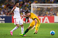 March 28 2017: Socceroos Tomi JURIC (9) gets a push from United Arab Emirates Ali MABKHOUT (7) at the 2018 FIFA World Cup Qualification match, between The Socceroos and UAE played at Allianz Stadium in Sydney.