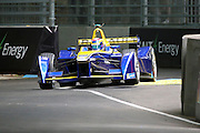 Renault E.Dams driver, Sebastien Buemi with a wheel in the air during round 10, Formula E, Battersea Park, London, United Kingdom on 3 July 2016. Photo by Matthew Redman.