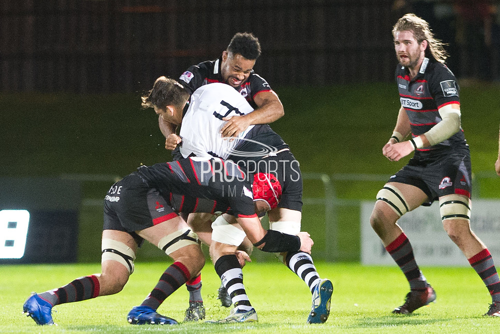 #4 David Sisi under pressure during the Guinness Pro 14 2017_18 match between Edinburgh Rugby and Zebre at Myreside Stadium, Edinburgh, Scotland on 6 October 2017. Photo by Kevin Murray.