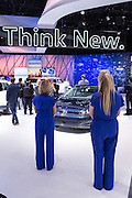 "New York, NY, USA-23 March 2016. VW's ""Think New"" sign seemed to apply to it's concept car, dubbed the Budd-e, a connected vehicle with a number of ""smart"" personalizable options, many of which are entertainment-centered."