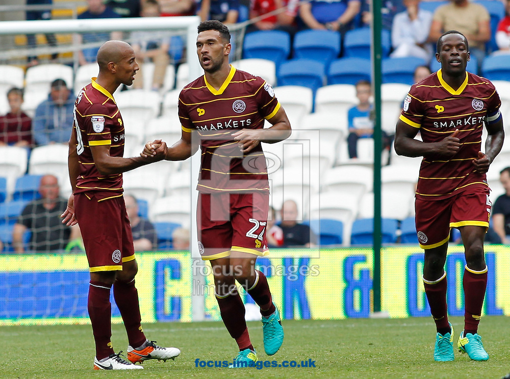 Steven Caulker (C) celebrates the first goal of Queens Park Rangers during the Sky Bet Championship match at the Cardiff City Stadium, Cardiff<br /> Picture by Mike Griffiths/Focus Images Ltd +44 7766 223933<br /> 14/08/2016