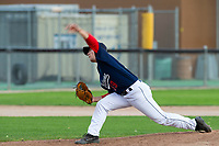KELOWNA, BC - JULY 16: Nick Nygard #39 of the Kelowna Falcons thorws a pitch against the the Wenatchee Applesox  at Elks Stadium on July 16, 2019 in Kelowna, Canada. (Photo by Marissa Baecker/Shoot the Breeze)