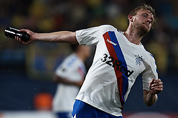 September 20, 2018 - Vila-Real, Castellon, Spain - Joseph Worrall of Rangers throws a bottle during the UEFA Europa League group G match between Villarreal CF and Rangers at Estadio de la Ceramica on September 20, 2018 in Vila-real, Spain  (Credit Image: © David Aliaga/NurPhoto/ZUMA Press)