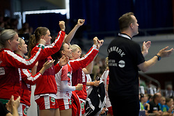 Players of Denmark during handball match between Women national teams of Slovenia and Denmark in Round #5 of Qualifications for Women's EHF EURO 2018 Championship in France, on May 30, 2018 in Sports hall Golovec, Celje, Slovenia. Photo by Urban Urbanc / Sportida