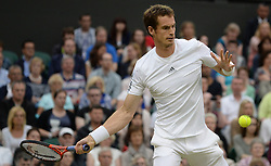 Wimbledon Tennis Championships.<br /> Andy Murray of Great Britain during the singles fourth round match with Spanish player Tommy Robredo at Centre Court on day 5 of The All England Lawn Tennis Club, Wimbledon, United Kingdom<br /> Friday, 28th June 2013<br /> Picture by Andrew Parsons / i-Images
