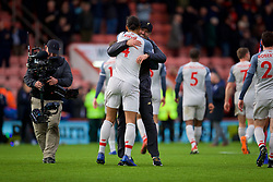 BOURNEMOUTH, ENGLAND - Saturday, December 8, 2018: Liverpool's manager Jürgen Klopp embraces Virgil van Dijk after the 4-0 victory over AFC Bournemouth during the FA Premier League match between AFC Bournemouth and Liverpool FC at the Vitality Stadium. Liverpool won 4-0. (Pic by David Rawcliffe/Propaganda)