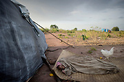 A small girl lying sick with Malaria in the outskirts of a newly build refugeecamp in the village of Kabo - some 6000 refugees has arrived in the last few weeks due to fight between goverment soldiers and rebelgroups... One of the main mortal factors in the area is malaria.The central African rep. has some of the world's worst child welfare indicators. The infant mortality rate is 112, and out of 1,000 children born in CAR, 171 will die before reaching the age of five. The five main child killers in CAR are malaria, diarrhoea, acute respiratory infections, malnutrition and measles – all preventable diseases. The Accelerated Child Survival and Development Strategy UNICEF is implementing aims to reach every newborn and child in every district with a set of priority interventions. Evidence shows that there are a number of known and affordable interventions that if implemented fully could prevent 63 per cent of current childhood mortality.